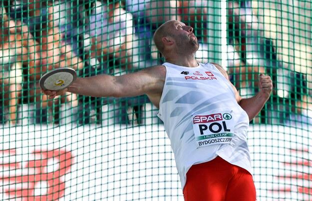 Piotr Małachowski w finale rzutu dyskiem /Paweł Skraba /PAP