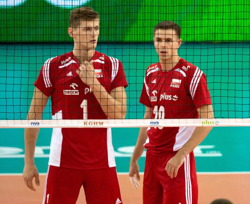 Piotr Nowakowski (z lewej) i Mariusz Wlazły podczas meczu z USA /Grzegorz Michałowski /PAP