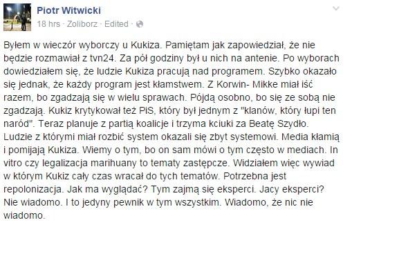 Piotr Witwicki na Facebooku /facebook.com