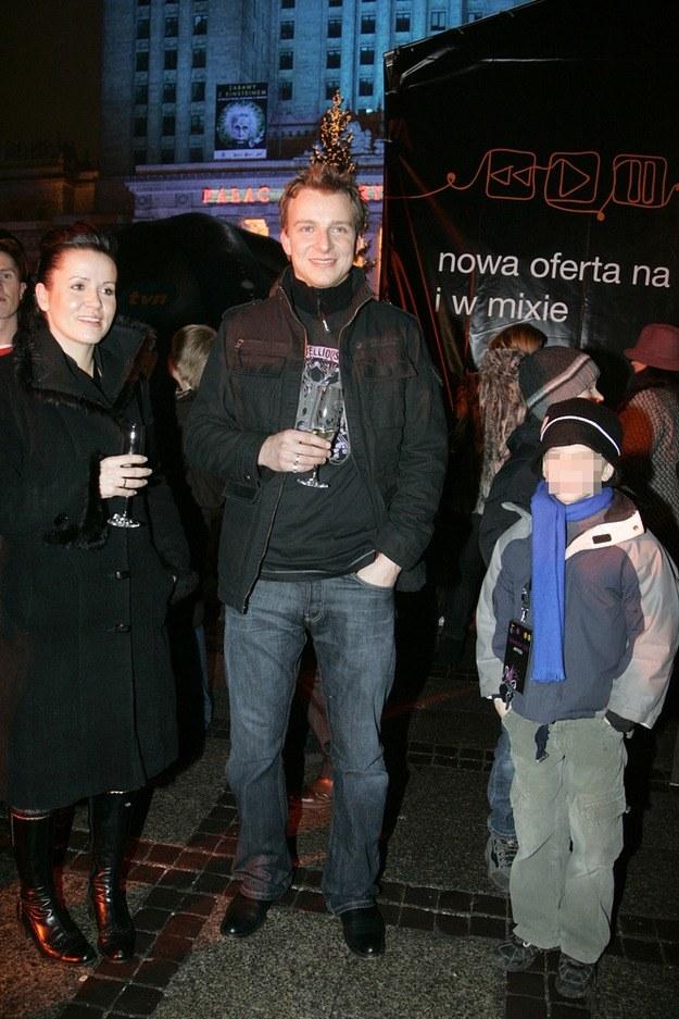 Piotr z byłą żoną i synem /- /AKPA