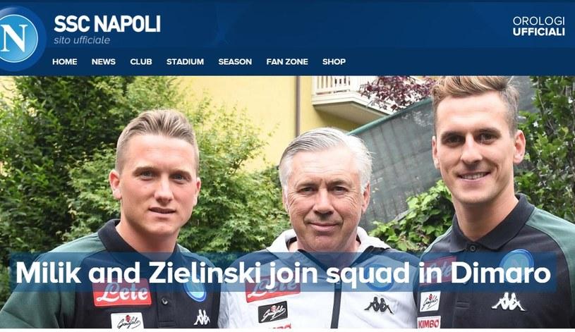 Piotr Zieliński i Arkadiusz Milik zostali gorąco przywitani przez Carla Ancelottiego. /