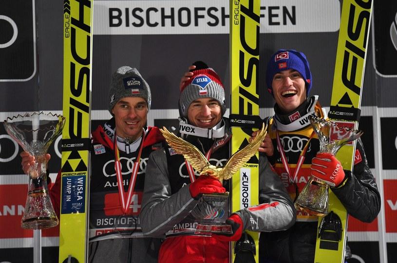 Piotr Żyła, Kamil Stoch i Daniel Andre-Tande na podium w Bischofshofen /CHRISTIAN BRUNA /PAP/EPA