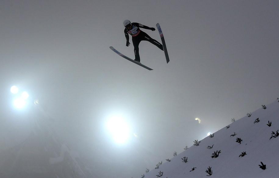 Piotr Żyła podczas serii treningowej przed zawodami mistrzostw świata w lotach narciarskich / Grzegorz Momot    /PAP