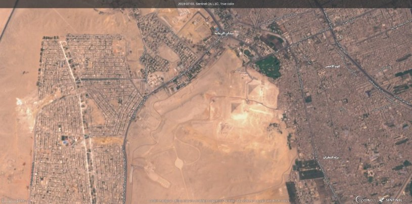 Piramidy w Gizie okiem satelity Sentinel-2A (zdjęcie z 3 lipca 2019 r.) /materiały prasowe