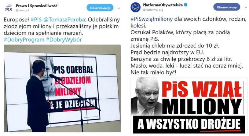 """PiS przygotował odpowiedź na kampanię Koalicji Obywatelskiej """"PiS wziął miliony"""" /Twitter"""