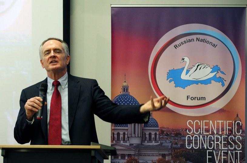 Pisarz Jared Taylor przemawia podczas Międzynarodowego Rosyjskiego Forum Konserwatywnego /PAP/EPA