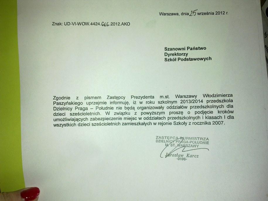 Pismo, do którego dotarł nasz reporter /Piotr Glinkowski /RMF FM