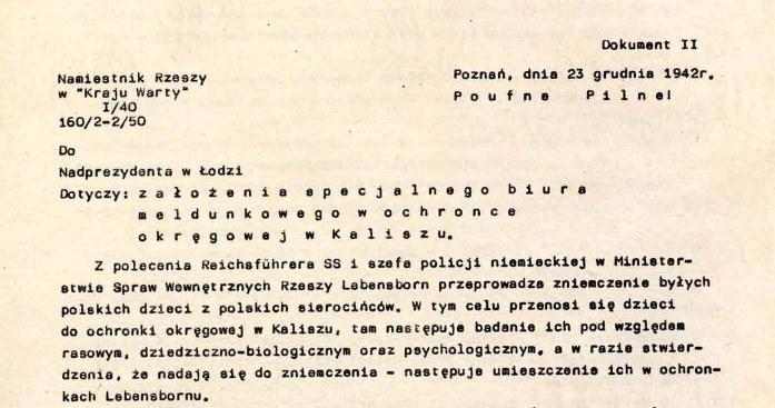 Pismo dotyczące funkcjonowania Gaukinderheim w Kaliszu /IPN