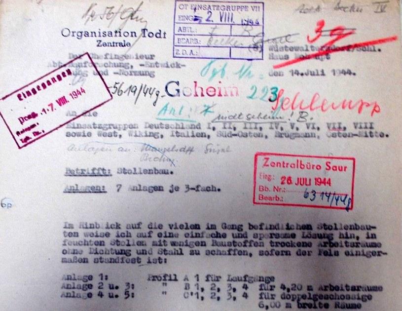 """Pismo dr. F. Leonhardta z 14.07.1944 roku dotyczące biura konstrukcyjnego przy OBL """"Riese"""" /Odkrywca"""