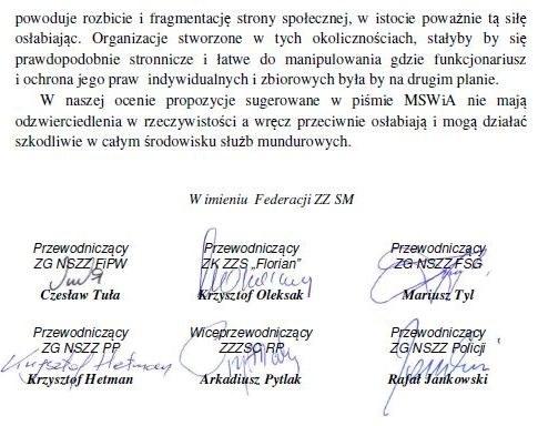 Pismo Federacji Związków Zawodowych Służb Mundurowych do MSWiA, strona 2 /Zrzut ekranu