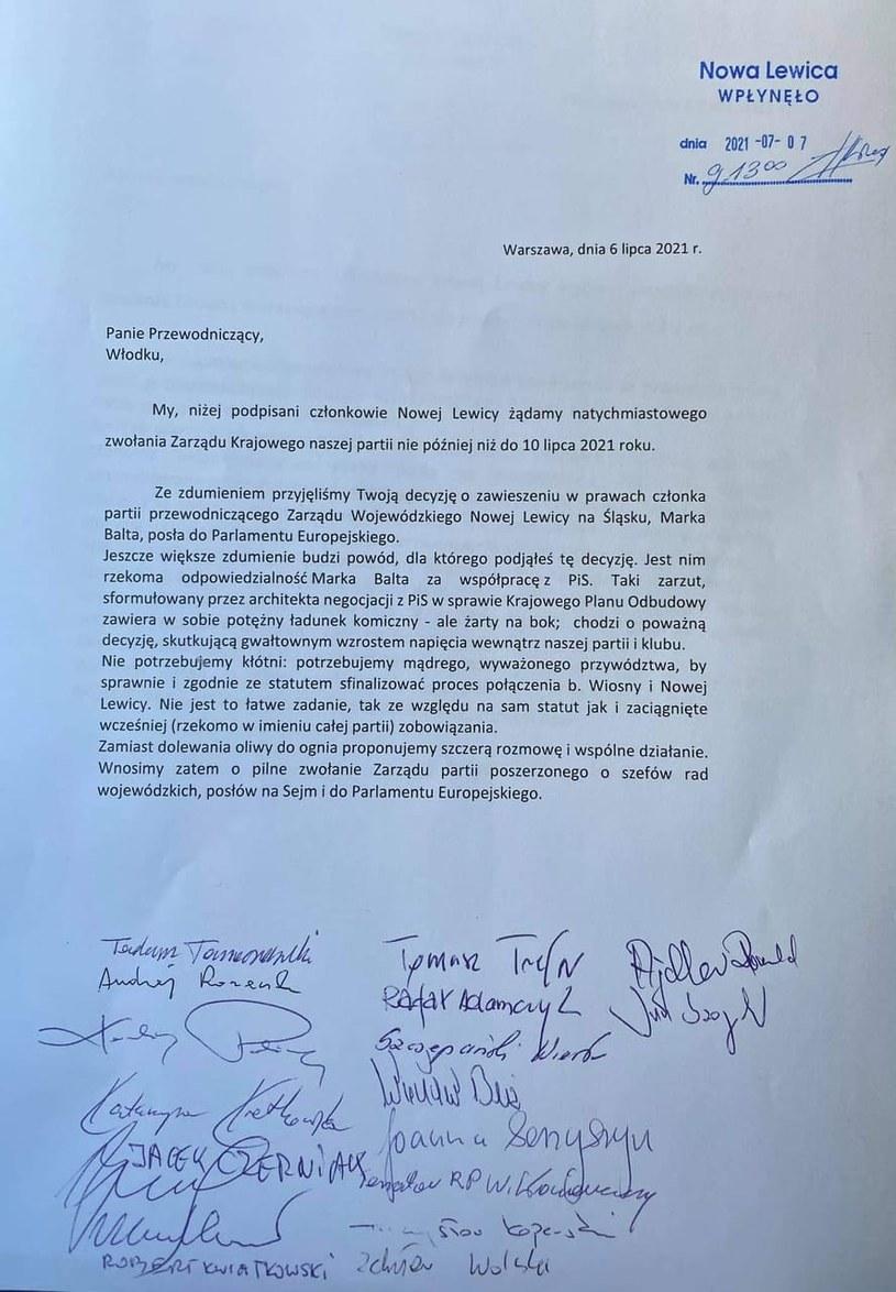 Pismo parlamentarzystów Nowej Lewicy do Włodzimierza Czarzastego, do którego dotarła Interia /INTERIA.PL