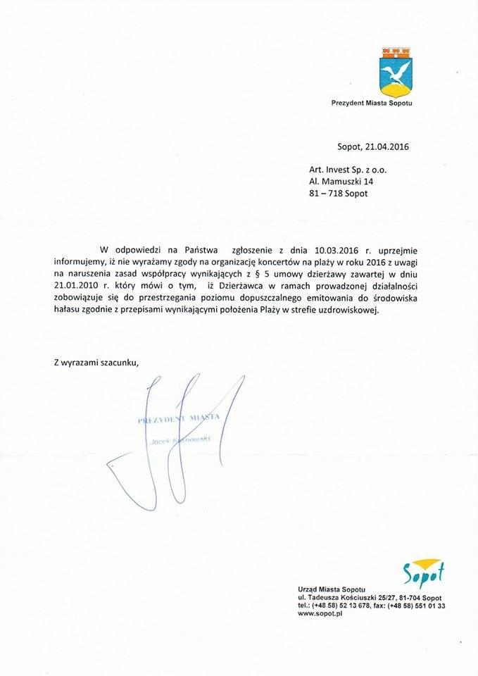 Pismo prezydenta Sopotu do Zatoki Sztuki /