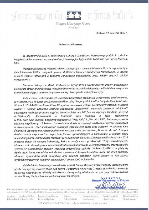 Pismo przedstawicieli Muzeum PRL-u /