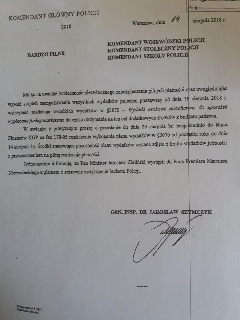 Pismo rozesłane przez Komendanta Głównego Policji Jarosława Szymczyka /
