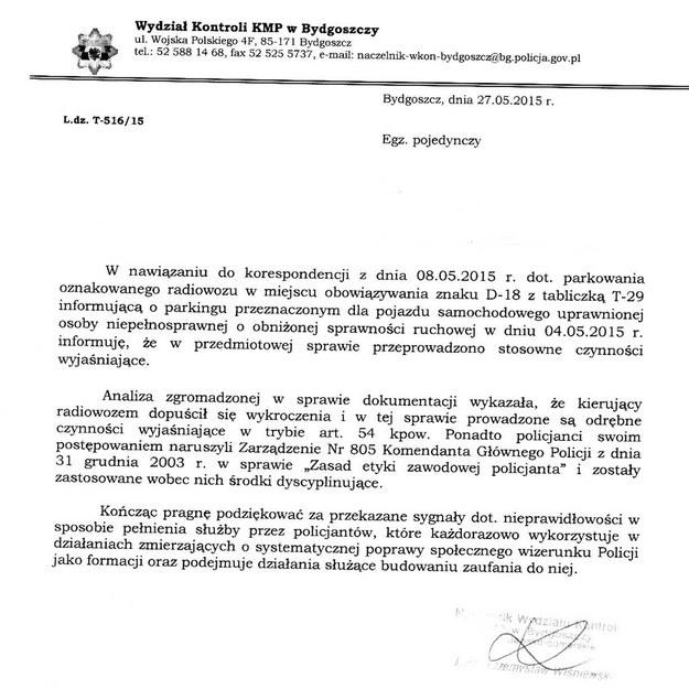 Pismo Wydziału Kontroli KMP w Bydgoszczy /