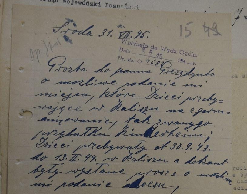 Pismo z lipca 1945 roku, dotyczące dzieci wywiezionych ze Środy /Ewelina Karpińska-Morek /INTERIA.PL
