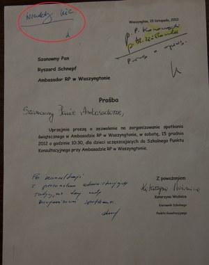 Pismo z odmową ambasadora ws. zorganizowania spotkania świątecznego dla dzieci /Paweł Żuchowski /RMF FM