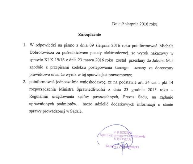 Pismo z sądu przesłane do reportera RMF FM /Michał Dobrołowicz /RMF FM