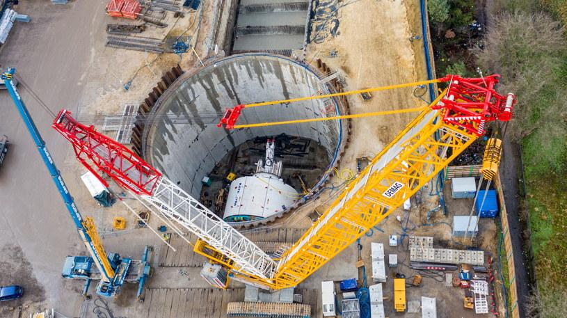 Plac budowy tunelu średnicowego w Łodzi przy ul. Odolanowskiej /Grzegorz Michałowski /PAP
