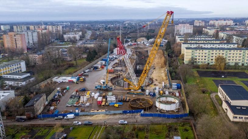 Plac budowy tunelu średnicowego w Łodzi /Grzegorz Michałowski /PAP
