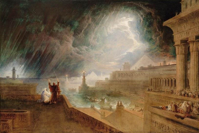 Plaga siódma - niespotykane dotąd burze - według malarza Martina Johna (XIX w.) /domena publiczna