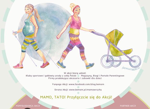 """Plakat akcji """"Mama w ruchu"""" /BeMam"""