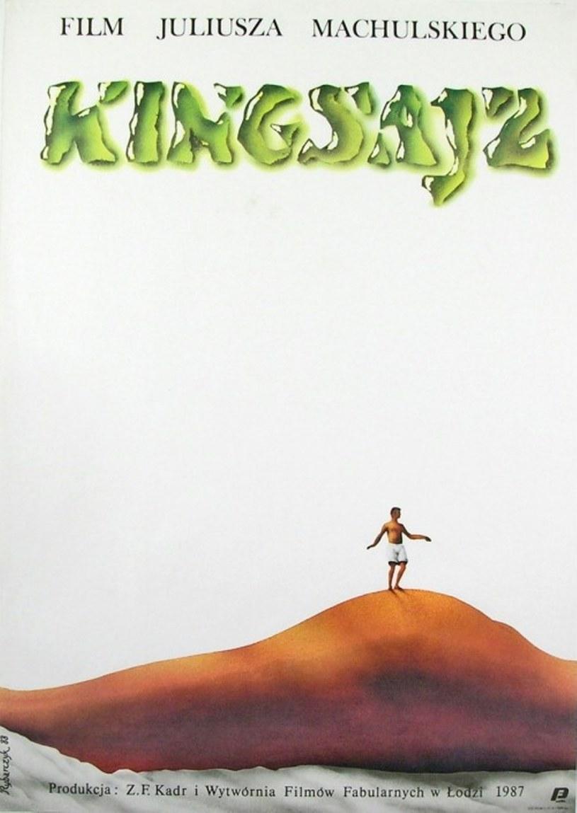 """Plakat filmu """"Kingsajz"""" przedstawia pamiętną scenę z Jackiem Chmielnikiem na Katarzynie Figurze /Studio Kadr /Polsat"""