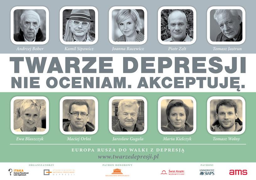 """Plakat kampanii """"Twarze depresji. Nie oceniam, akceptuję"""" /materiały prasowe"""