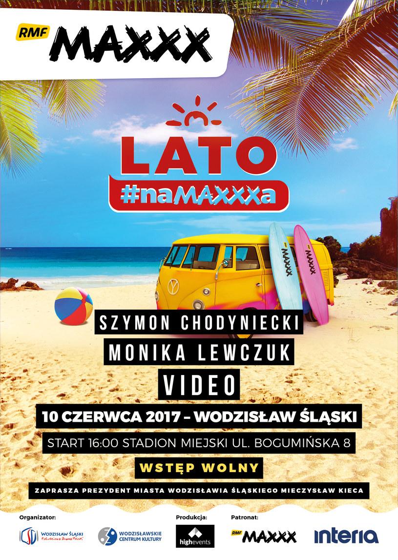 """Plakat koncertu """"Lato #naMAXXXa"""" w Wodzisławiu Śląskim /materiały prasowe"""