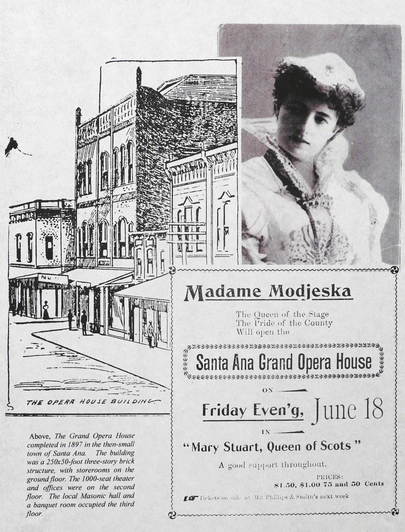 """Plakat promujący przedstawienie """"Maria Stuart"""" z Heleną Modrzejewską (pisana jako Modjeska), Santa Ana, Kalifornia, lata 80. XIX w. /Laski Diffusion /East News"""