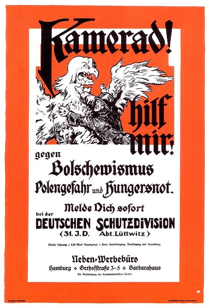 Plakat propagandowy z 1919 roku wzywający do walki przeciwko bolszewikom /Wikimedia Commons /materiały prasowe