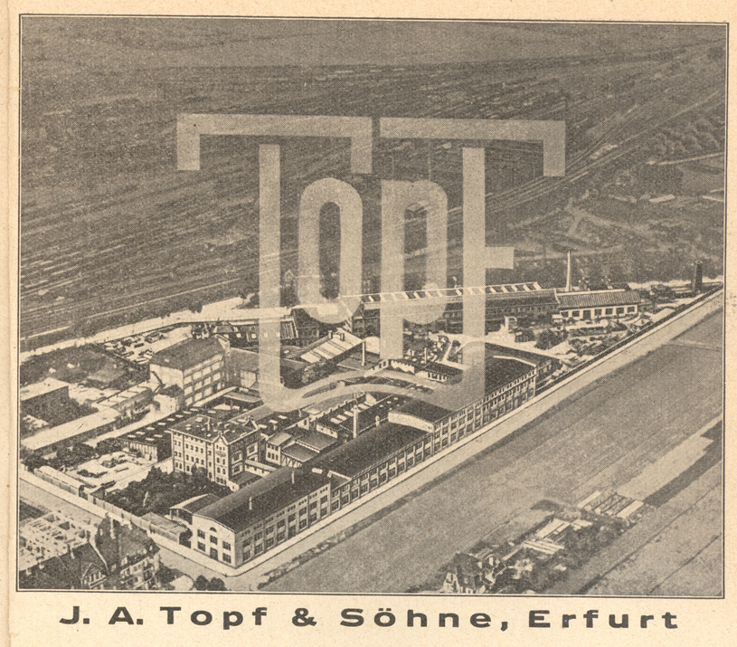 Plakat reklamowy z widokiem fabryki. Przewodnik po Erfurcie 1935 r. Fot. Zbiory Muzeum Buchenwald /Deutsche Welle