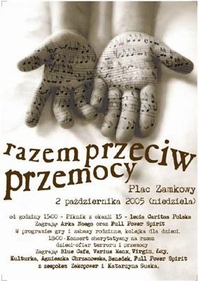 """Plakat reklamujący koncert """"Razem przeciw przemocy"""" /"""