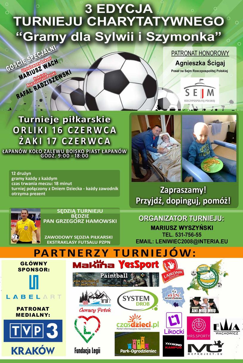 """Plakat turnieju charytatywnego """"Gramy dla Sylwii i Szymonka"""" /materiały prasowe"""