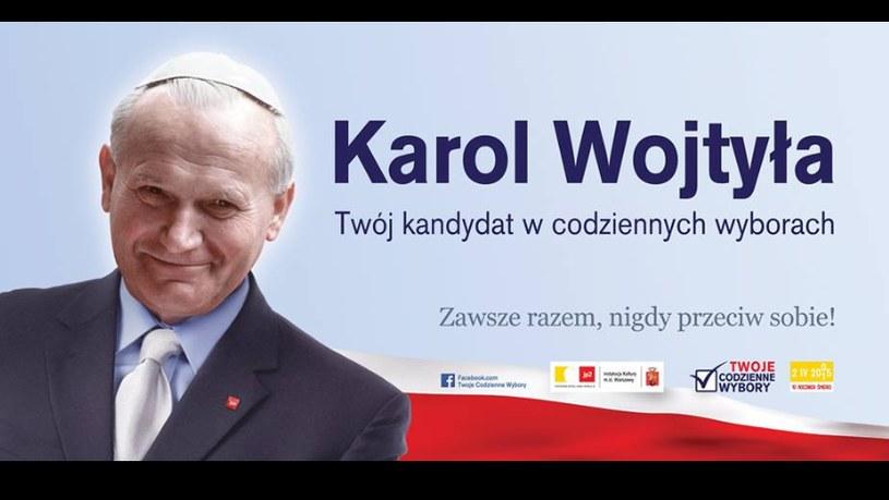 Plakat z Karolem Wojtyłą /TwojeCodzienneWybory /facebook.com