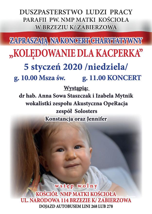 Plakat zapowiadający charytatywne kolędowanie dla Kacperka /Zdjęcie udostępnione /