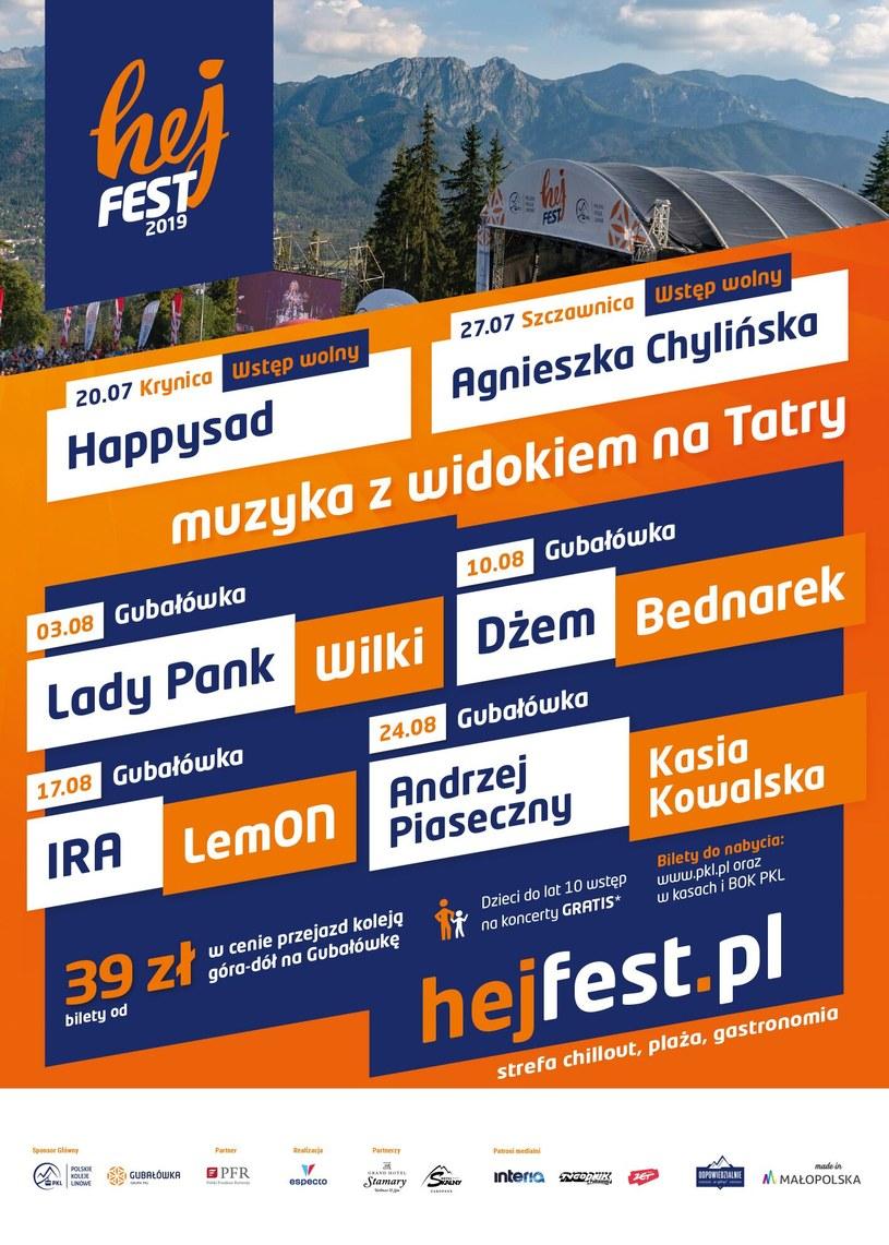 Plakat zapowiadający Hej Fest 2019 /materiały prasowe