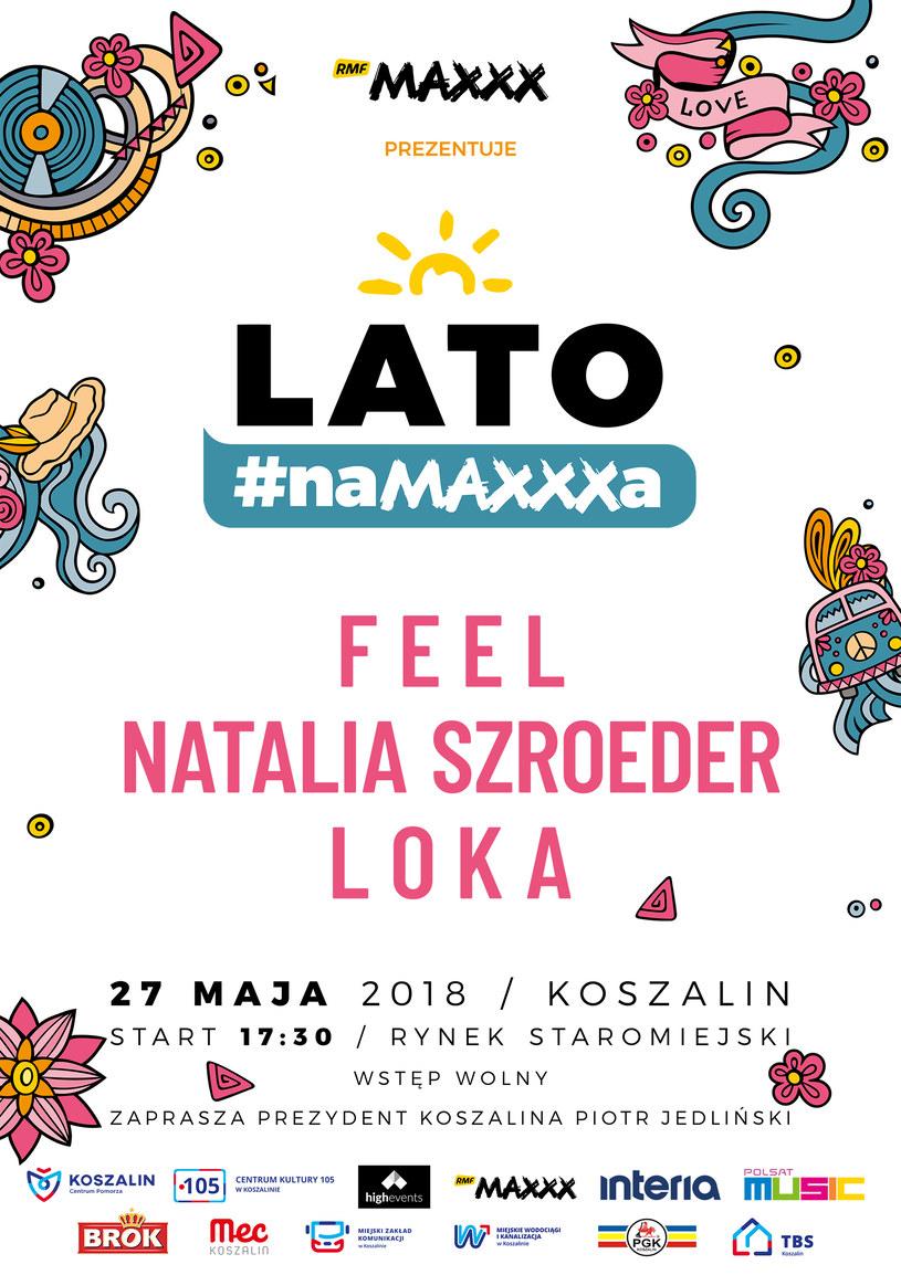 """Plakat zapowiadający koncert """"Lato #naMAXXXa"""" w Koszalinie /materiały prasowe"""