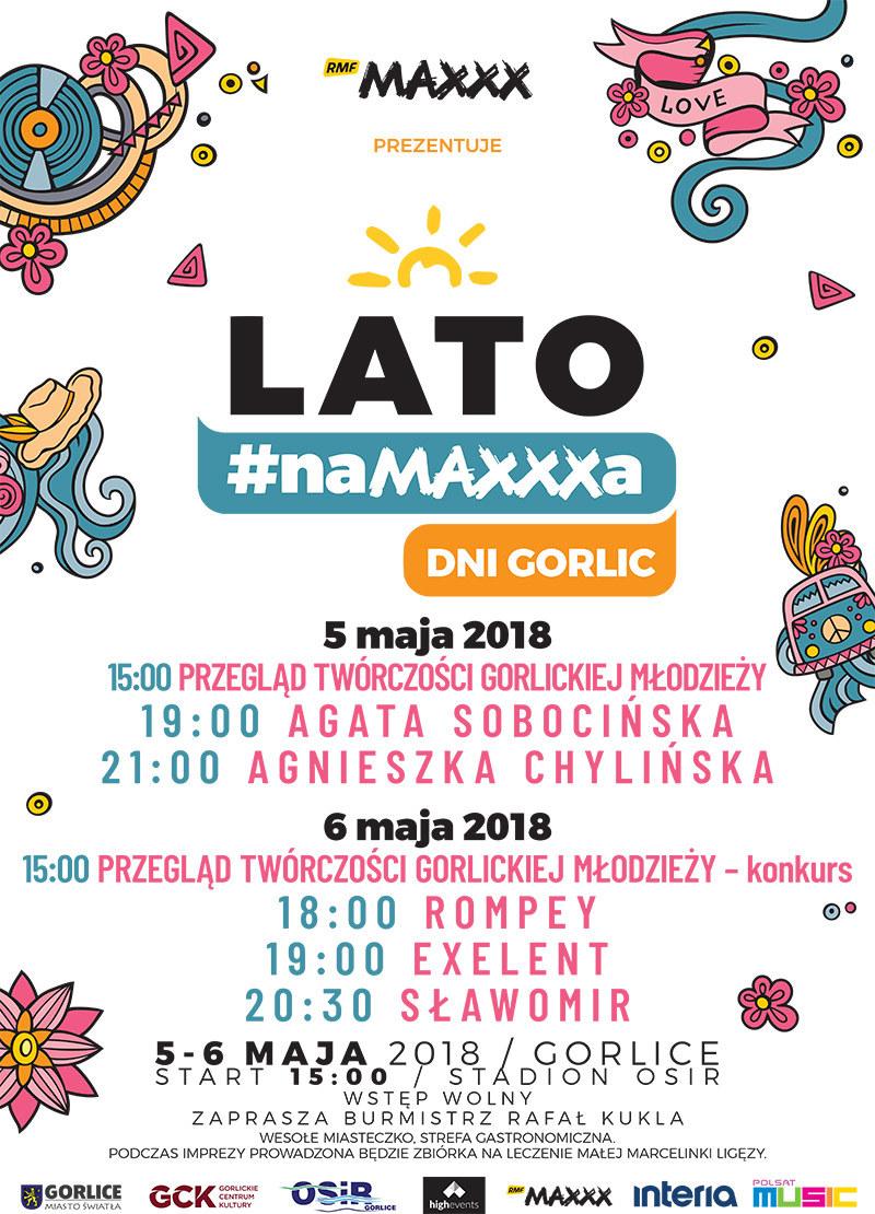"""Plakat zapowiadający """"Lato #naMAXXXa"""" w Gorlicach /"""