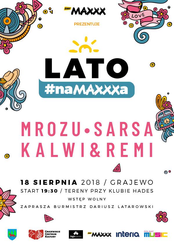 """Plakat zapowiadający """"Lato #naMAXXXa"""" w Grajewie /materiały prasowe"""