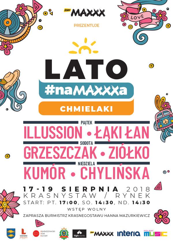 """Plakat zapowiadający """"Lato #naMAXXXa"""" w Krasnymstawie /materiały prasowe"""
