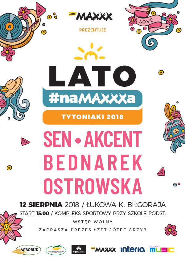 """Plakat zapraszający na """"Lato #naMAXXXa"""" w Łukowej /"""
