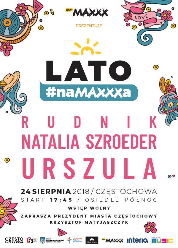 """Plakata zapowiadający """"Lato #naMAXXXa"""" w Częstochowie /materiały prasowe"""