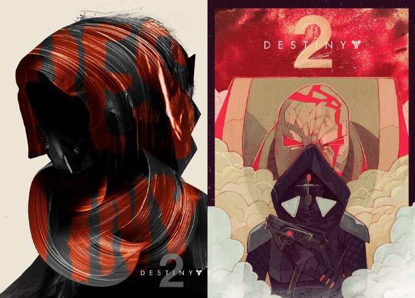 Plakaty do gry Destiny 2. Z lewej ten przygotowany przez Krzysztofa Iwańskiego, z prawej dzieło Patryka Hardzieja /materiały prasowe