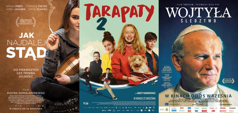 """Plakaty filmów """"Jak najdalej stąd"""" (L), """"Tarapaty 2"""" (C) oraz """"Wojtyła. Śledztwo"""" (P) /materiały dystrybutora"""