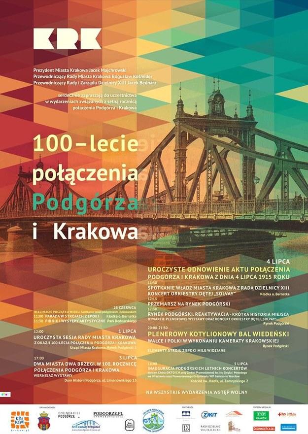 Plan obchodów 100-lecia połączenia Podgórza i Krakowa /materiały prasowe