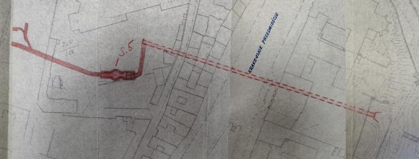 Plan wyrobiska i szybu w rejonie Placu Teatralnego. /Fot. Odkrywca /Odkrywca