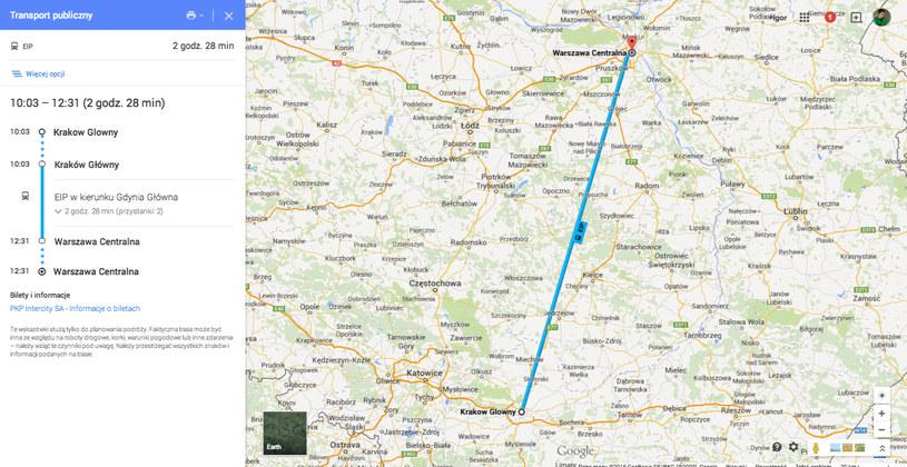 Planowanie podróży pociągiem PKP Intercity na Mapach Google. /materiały prasowe