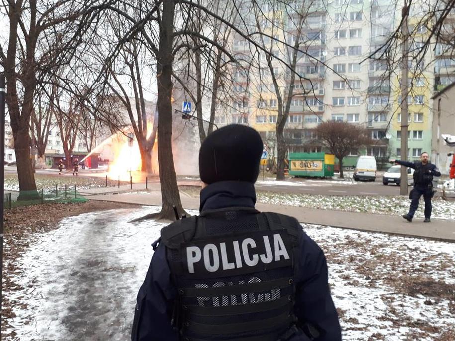 Płomień wystrzelił na kilka metrów w górę /KWP Łódź /Policja