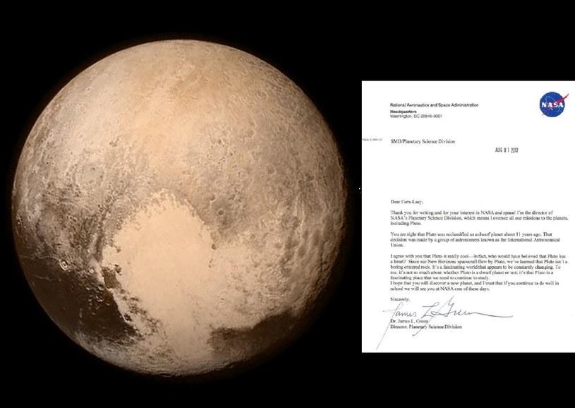 Pluton i list, jaki 6-latka przesłała /AFP